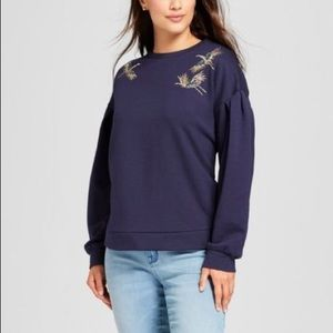 A New Day Embroidered Crane Sweatshirt size L